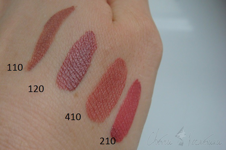 Свотчи помады Estee Lauder Pure Color Envy Liquid Lip Potion